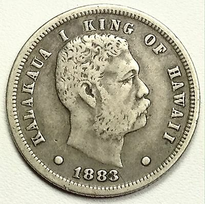 1883 Kingdom of Hawaii One Dime 10c Silver Coin Low Mintage KM#3 (L75)
