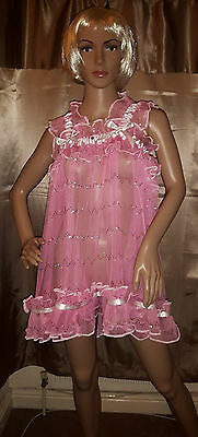 Sissy Adult Baby Sparkly Pink Sequined Tulle Dress .