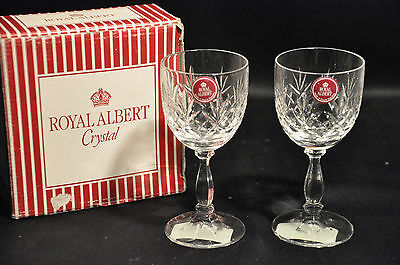 Pair Of Royal Albert Lead Crystal Sherry Glasses Victoria Pattern Boxed