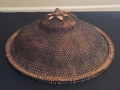 Vintage Asian Coolie Chinese Rice-Paddy Farmer Bamboo Straw Hat Vietnman