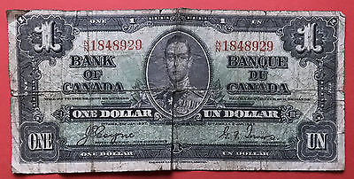 1937 $1 Canada One Dollar Coyne Towers - N/N Prefix - VG