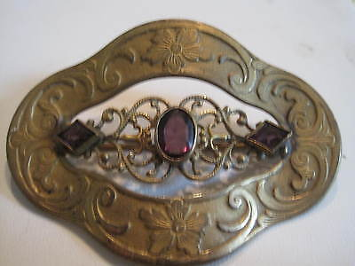 Antique Sash Buckle Pin...gold Filled..amethyst Stones..