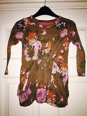 Little Girls Cute Joules brown floral print dress Top 3-4 Long Sleeved Clothes