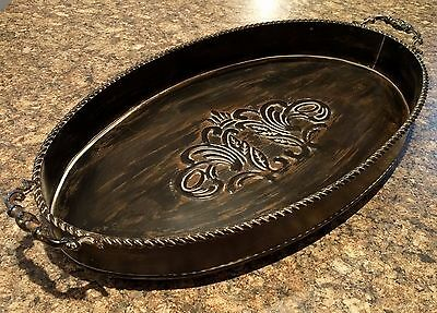 Ornate Vintage French Country Shabby Large Oval Metal Serving Tray with handles