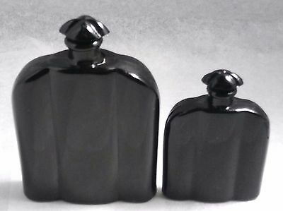 Set of 2 Antique France 1920's Small Black Glass Perfume Scent Bottle w/Stoppers