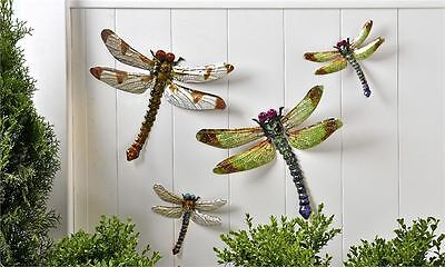 4 METAL DRAGONFLIES GARDEN  MODERN Yard Ornament  9.in New Multi-Color New home