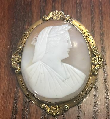 Vintage Estate Bold Brass Edwardian Scroll Design Carved Shell Cameo Pin Pendant