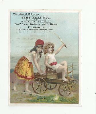 Girls In Cart Besse Mills & Co Clothiers Holyoke Mass Victorian Trade Card
