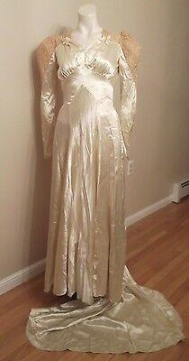 Vintage Satin Wedding Gown Size Small, 1940's