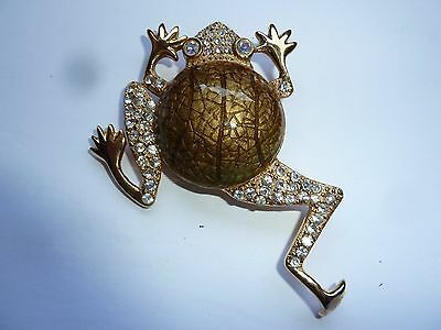 Frog Vintage Brooch with Crystals Signed