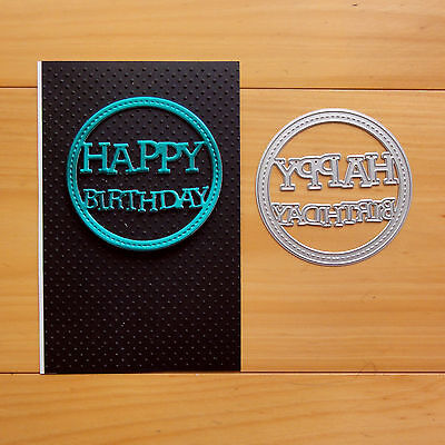 Shopaperartz HAPPY BIRTHDAY CIRCLE STITCHED CUTTING DIE FITS SIZZIX CUTTLEBUG