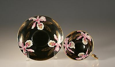 Castle China Handpainted Black with Pink Orchids Pedestal Cup and Saucer