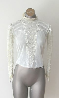 """Antique Edwardian Ladies Sheer Blouse - the """"s"""" waist tag"""