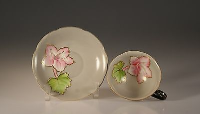 Princess China Handpainted Black with Pink Orchids Cup and Saucer,Occupied Japan