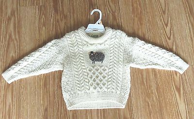 Vintage Irish Child's Cable sweater by Carraig Donn (aran) 100% new wool - S