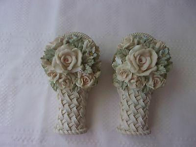 Pair Of Small Shabby Ornate Decorative Curtain Rod Sconce Holders Magnolia~Roses