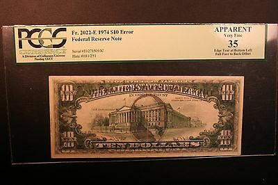 1974 $10 (Error) Federal Reserve Note, 100% Offset Ghost Error; PMG 35 Apparent