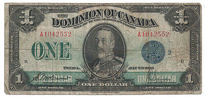 Dominion of Canada - July 2nd, 1923 $1.00 Banknote (Blue Seal)