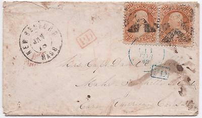 Interesting Unique New Bedford MA to Seychelles Isl 1869 Cover w/ Pair #71 30c!