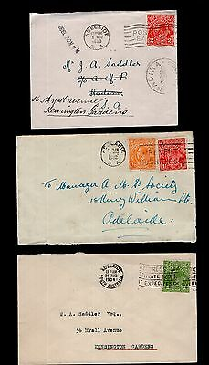 Australia 3x KGV covers with ADELAIDE slogan cancels see scans x2