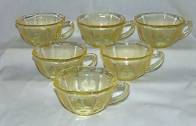 6 Anchor Hocking PRINCESS TOPAZ/YELLOW *CUPS*