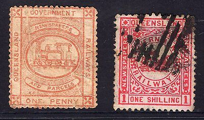 Queensland 2x railway stamps see scans x2