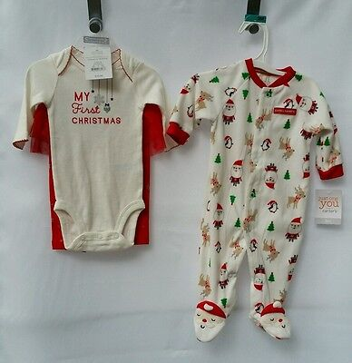 Carter's Infant Baby Girl Boy Twin First Christmas Set One Piece Santa 3 Mth NEW
