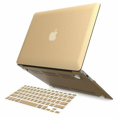"Gold Rubberized Shell Case+Keyboard Cover for 2016 Mac MacBook Pro 13"" Touch Bar"