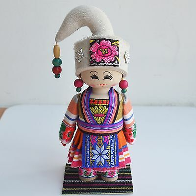 Handmade Minority Nationality Miniature Horn Wooden Doll Cloth Collectible Doll