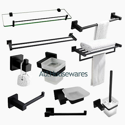 Black Square Bathroom Accessory Sets Towel Rack Rail Glass Shelf Wall Hook Robe