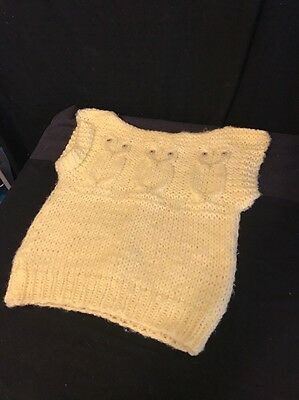 Vintage Hand Knit Child's Yellow Sweater Vest