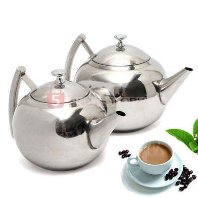 Stainless Steel Teapot Tea Pot With Infuser Coffee Tea Leaf Filter Herbal 1.5/2L