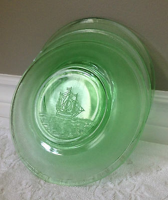 Vintage– Depression Era 1930s; Green-Vaseline-Glass with SAILBOAT Graphics; 8 IN