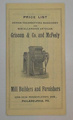 Vintage Fold Out Price List - Griscom & Co. Flour Mill Machinery - Philadelphia