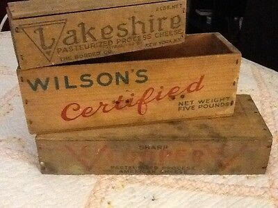 3 Wooden Cheese Boxes