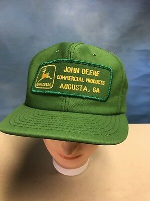 Vintage John Deere Tractor Hat Green Patch Trucker Cap Farmer Made USA