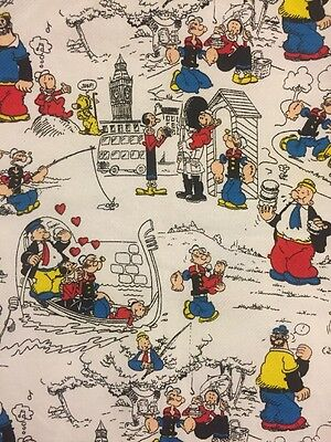 Rare Vintage 1987 Peter Pan Popeye World Travel Fabric King Features Syndicate