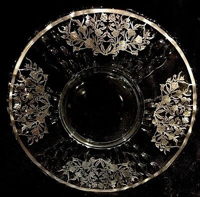 Vintage Sterling Silver Overlay Serving Tray with Flower and Vines Design, Round