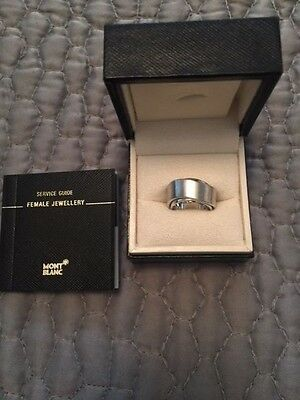 Authentic MONT BLANC Women's Sterling Silver Rotating Ring Sz 5.5