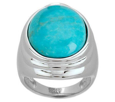 NEW QVC VicenzaSilver Sterling Silver Oval Turquoise Ring SIZE 7
