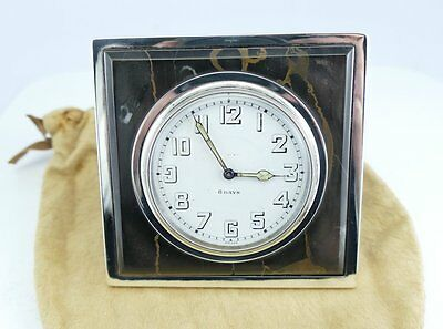 Antique Tiffany & Co. Sterling Silver Marble Desk Clock  Running  Serviced