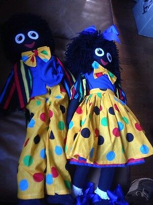 """Two 2 X 22"""" Golliwogs With Bright Clothing On"""