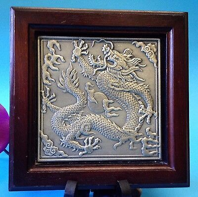Framed Bas-Relief Pewter Wall Plaque - ORIENTAL DRAGON - Quality  Selangor.