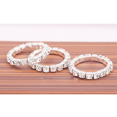 HOT 1 Row Crystal Rhinestone Paved Jewelry Ring Stretch Elastic Finger Ring