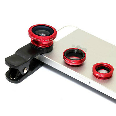 3in1 Fish Eye Universal Mobile Phone Clip Lens Wide Angle Macro for iPhone