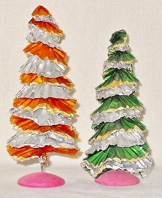 Rare Vtg Christmas Decorations Corkscrew Foil & Cellophane Christmas Trees