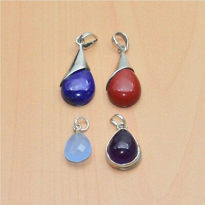 925 Solid Sterling Silver Natural Lapis & Mix Gemstone Wholesale 4Pc Pendant Lot