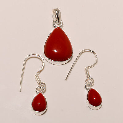 925 Solid Sterling Silver Red Coral Pear Shape Pendant-Earring Jewelry Set