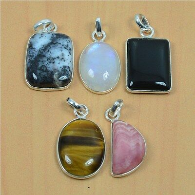 Wholesale 5Pc 925 Solid Sterling Silver Natural Rainbow Stone & Mix Pendant Lot