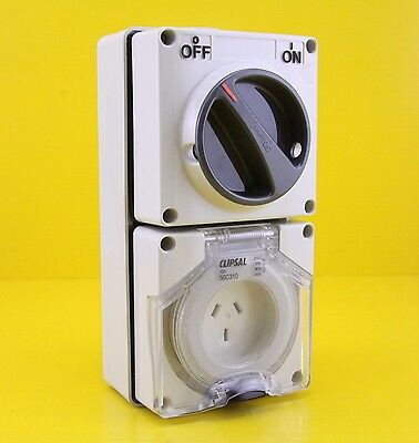 Clipsal 56C310 Switched Socket Outlet , Single Phase 3 pin Power Point 10A 250V